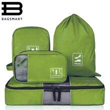 c4f272b9aa4f2 BAGSMART 4 adet/takım Moda Seyahat Çantaları Taşınabilir Çok fonksiyonlu  Seyahat Çantaları Giyim Makyaj Tel ayakkabı çantası