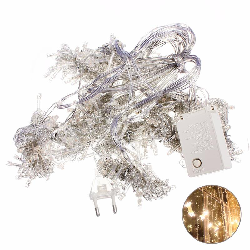 3x3M 300 LED Icicle String Lights Curtain Light for Christmas Home Outdoor Decoration wi ...