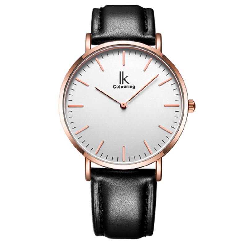 IK Colouring Male Quartz Watch Super Slim Japan Movement Stainless Steel Case Leather Strap Men Clock Waterproof Relojes Hombre chenxi relojes hombre 2017 clock man waterproof quartz movement casual watch men stainless steel watchband watches hodinky 4751