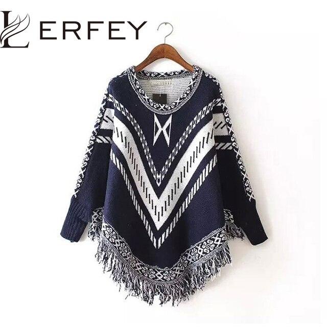 Mulheres Outono Inverno Camisola de Malha Batwing Borla Pullover Blusas Tops Knitwears Mulheres Capas e Ponchos Mulheres Clothings