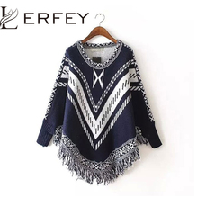 Women Autumn Winter Sweater Knitted Batwing Tassel Pullover Sweaters Tops Knitwears Womens Capes and Ponchos Womens Clothings(China)
