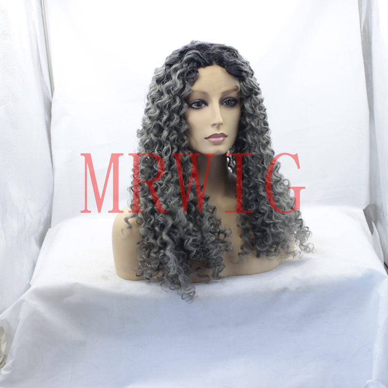MRWIG 1b#/dark grey middle part long afro kinky curly 26in real hair glueless front lace wig 180% swiss lace combs&straps stock