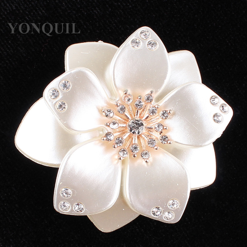 Size 46 MM Shell garments rhinestone buttons patch glue on acessories flatback for hats bags For Wedding Decor 12pcs/lot SYBB82