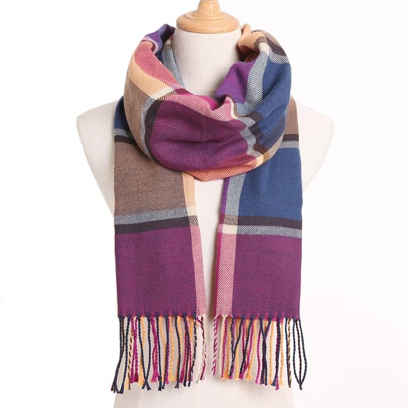 [VIANOSI] клетчатый зимний шарф женский тёплый платок одноцветные шарфы модные шарфы на каждый день кашемировые шарфы - Цвет: 05
