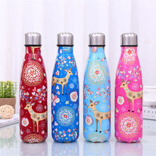 Christmas Cartoon Deer Water Bottle Insulated Cup Stainless Steel Beer Tea Coffee Drink Sport Travel Thermos Gift