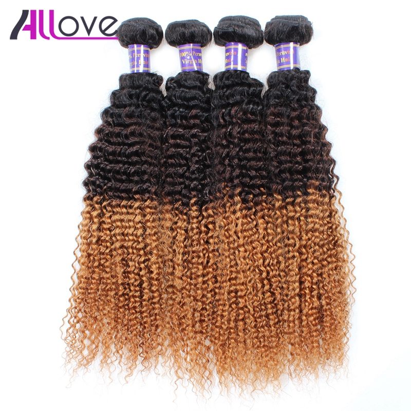 Allove Hair Peruvian Curly Weave Ombre Human Hair Weave 100% Remy Hair 4 Bundles Kinky Curly T1B/4/30 Hair Extension 10 28 Inch-in 3/4 Bundles from Hair Extensions & Wigs    1