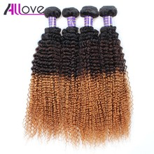 Allove Hair Peruvian Curly Weave Ombre Human Hair Weave 100% Remy Hair 4 Bundles Kinky Curly T1B/4/30 Hair Extension 10-28 Inch(China)