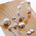 925 Sterling Silver Jewelry Set una sola flor rosa colgante de las borlas del collar del brazalete anillo pendiente del perno prisionero S298
