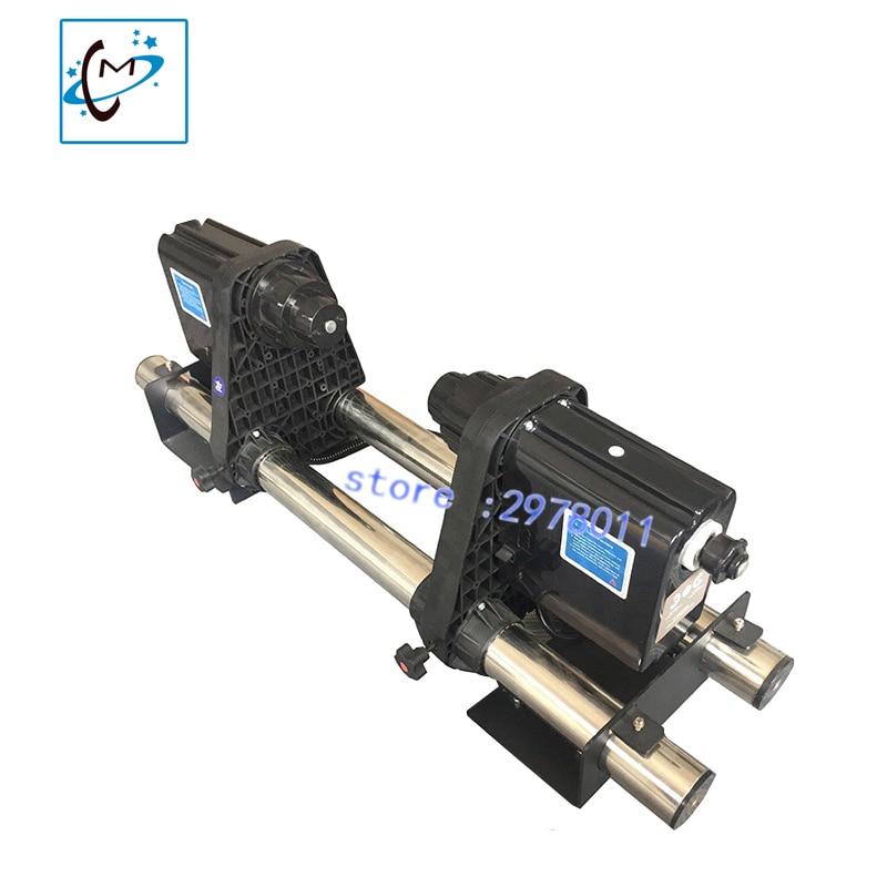Doble motor Auto medios impresora tome sistema para Roland Mutoh Mimaki Xenons DX5 DX7 papel plotter sistema colector 1 unidades