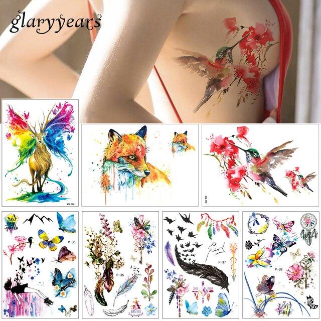 Glaryyears  Sheet Watercolor Drawing Body Tattoo Feather Fox Body Decal Temporary Tattoo Sticker