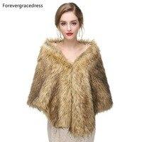 Forevergracedress 2019 Elegant Soft Autumn Winter Faux Fur Bride Wedding Wraps Bolero Jackets Bridal Coats Shawls Scarves PJ407