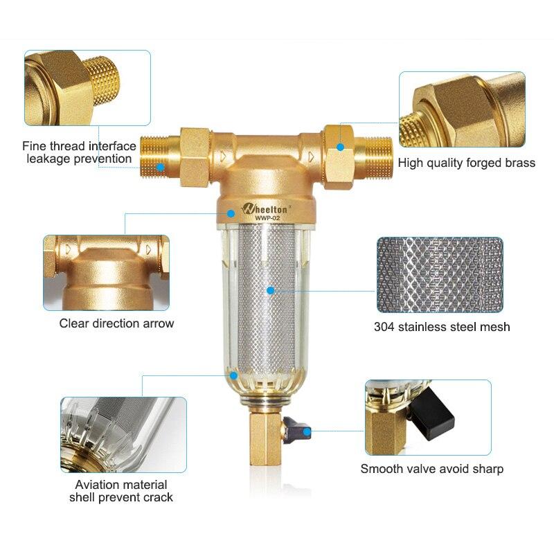 Wheelton eau pré filtre (WWP-02S) transporter deux essuie-glaces Euro-standard laiton 30 ans lifitime purificateur donner à votre famille une bonne santé - 3