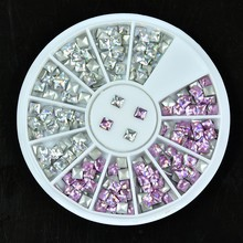 1 Box Laser Silver/Pink 3*3mm Metal Nail Rhinestone Studs Decoration Wheel Square Shaped Glitter 3D Beauty Tools
