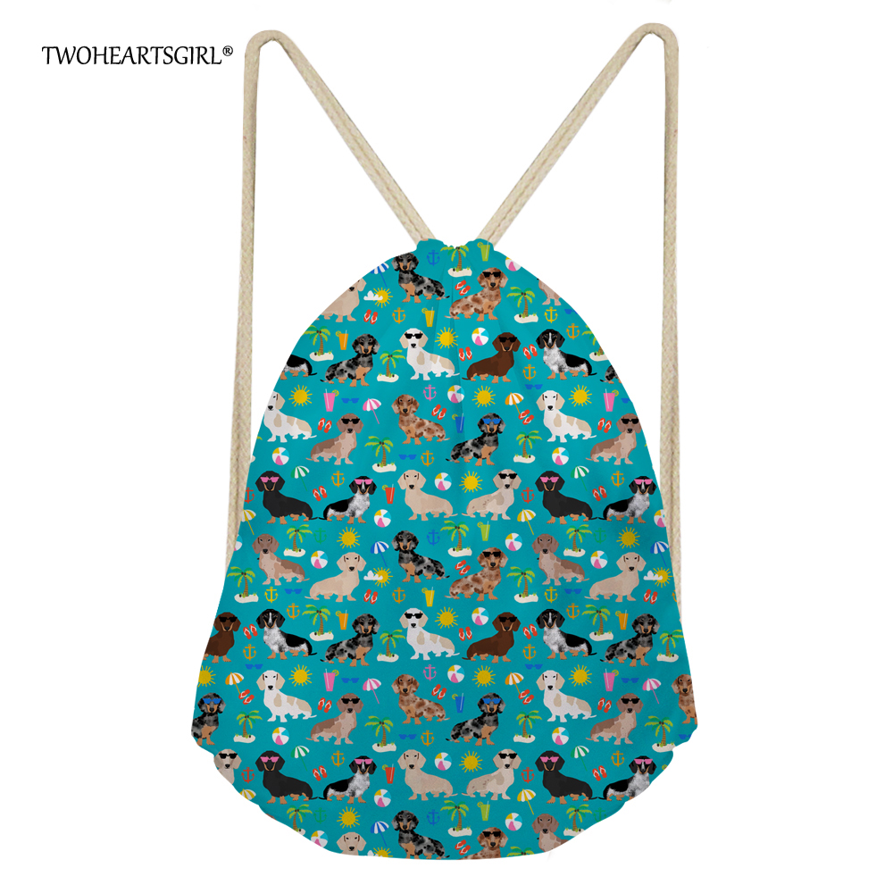 Twoheartsgirl Floral Dachshund Dog Drawstring Bag Backpack For Women Cute Student Kids Bagpack Teen Girls Tourism Rucksack