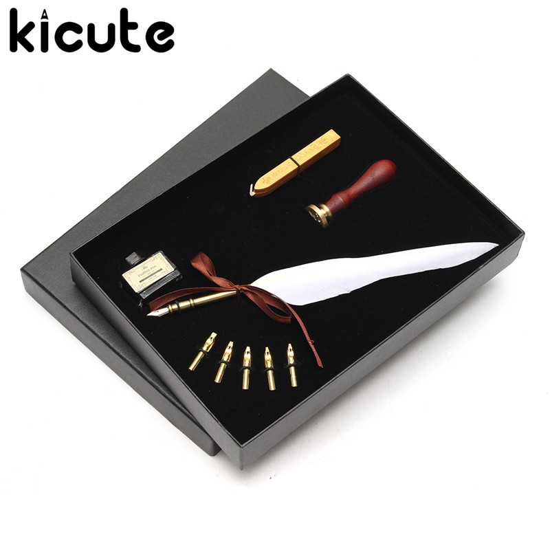 Kicute Antique Pure Goose Feather Quill Dip Pen Fountain Pens Writing Ink Set Rare Stationery Gift Box With 5 Nib Wedding Gift kicute retro feather quill dip pen set with 5 pen nib writing ink seal wax sticks set with gift box stationery fountain pen gift