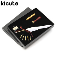 Kicute Antique Pure Goose Feather Quill Dip Pen Fountain Pens Writing Ink Set Rare Stationery Gift Box With 5 Nib Wedding Gift