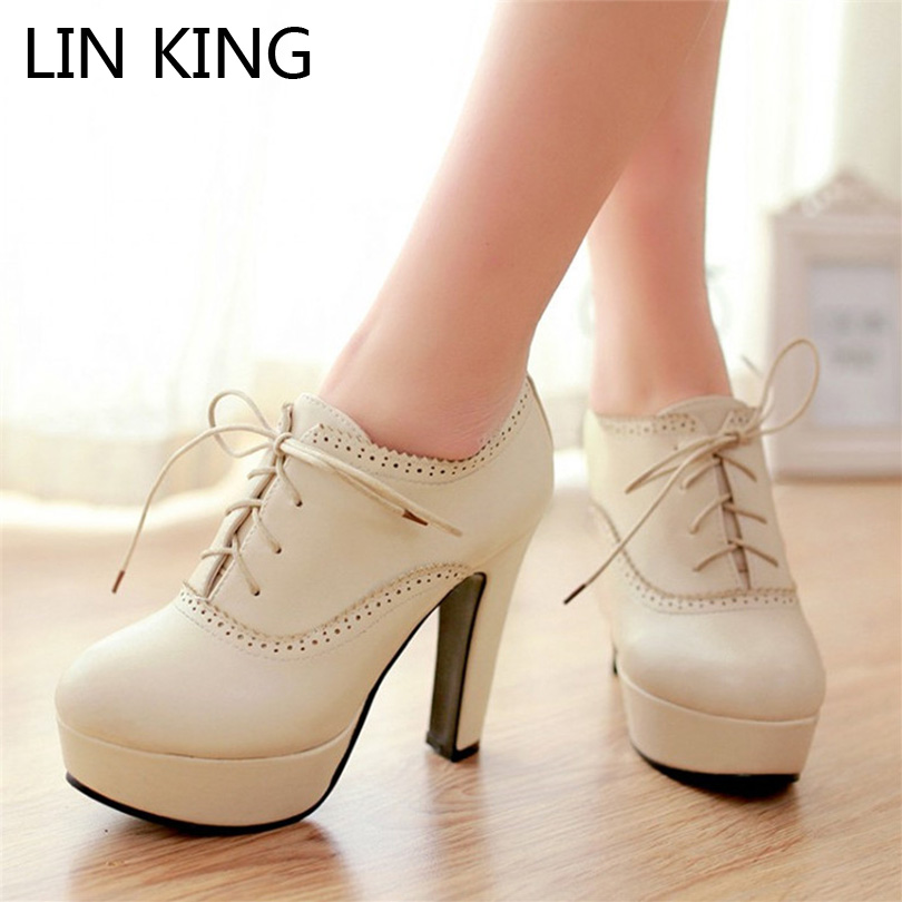ФОТО LIN KING Cut-outs Lady Pumps Platforms High Heel Lace-up Short Gladiator Boots Women Thin Heel Office Dress Brogue Shoes