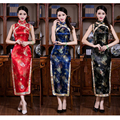 Traditional Chinese Female Rayon Cheongsam Vintage Women Mandarin Collar Qipao Long Prom Dress Flower Size S M L XL XXL 011411