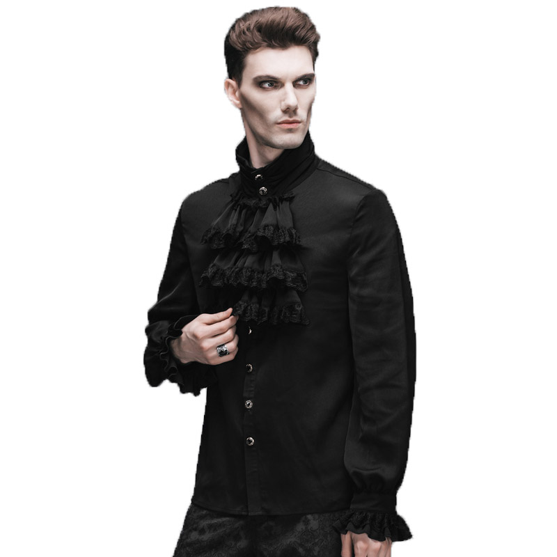 5b9420e914a4 Gothic Steampunk Flounce Tie Shirt Black White Men Casual Shirts Camisa  Masculina Chemise With Long Sleeves