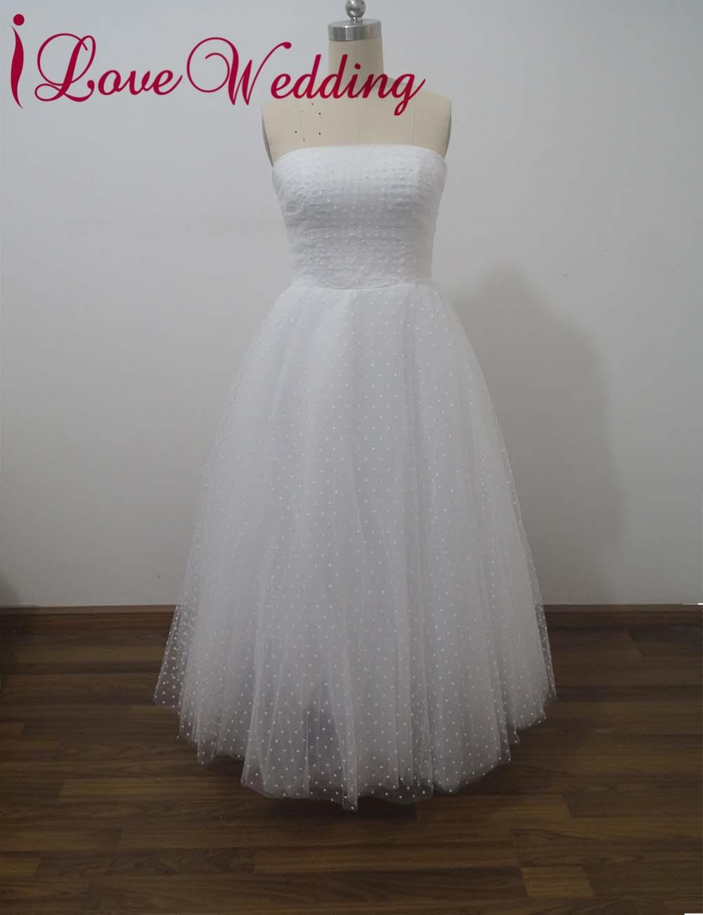 iLoveWedding Vintage Polka Dotted Wedding Dresses Formal Tulle Strapless Zipper Ankle Length Bridal Gowns Custom WE12