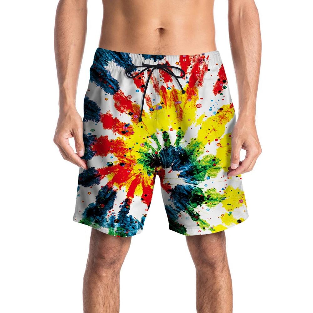 Radient 2018 Men Casual 3d Graffiti Printed Beach Pants Work Men Short Trouser Colorful Shorts Pants Straight Loose Men's Clothing