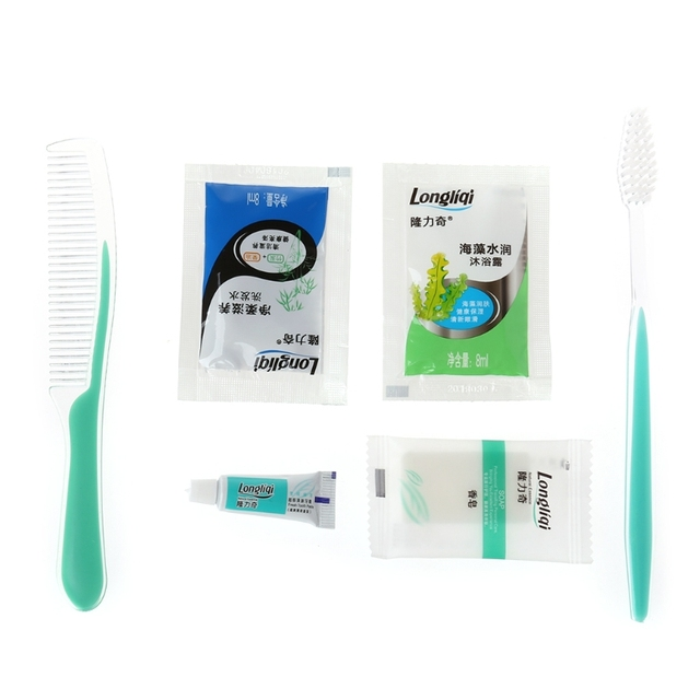 6in1 juego de lavado de viaje pasta de dientes + cepillo de dientes + jabón + champú + ducha + peine accesorio de limpieza de una vez