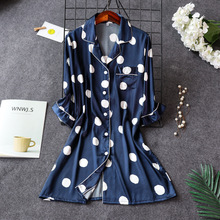 Daeyard Silk Nightgown For Women New Spring Summer Long Sleepshirt BF Blouses Casual Polka Dot Nightdress Sexy Nightie Homewear