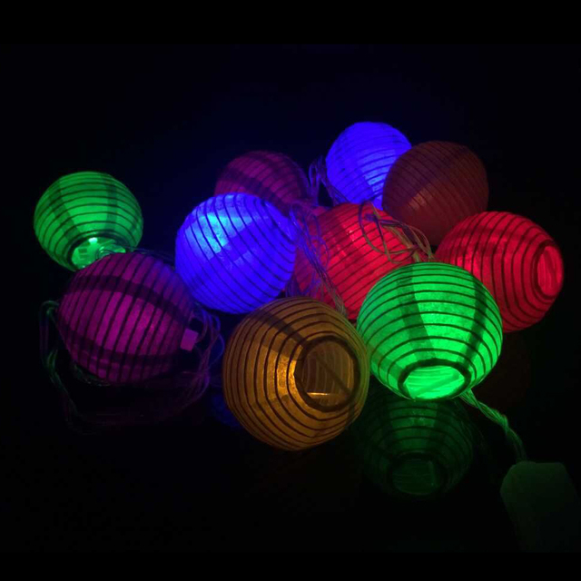 2w Ac110v Input Us Plug 10pcs Colorful Paper Lantern 75mm Diameter Led String Light For Holiday