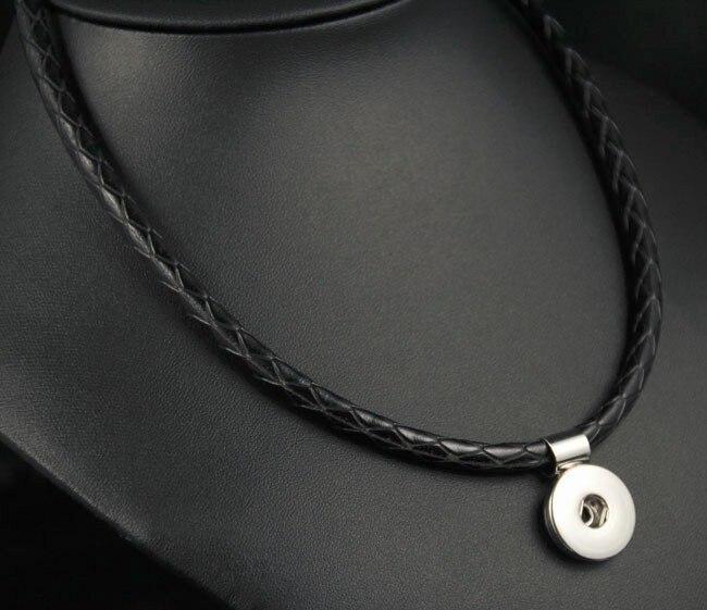 12 pcs/lot nouveau cercle bouton pression pendentif collier cuir synthétique polyuréthane noir bricolage Snap pendentif à breloque collier Fit 18mm boutons