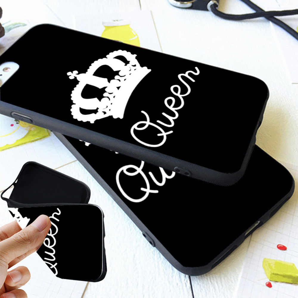 huge selection of 46ff1 3937a BFF King Queen 01 Couple Matching Case Cover For iPhone X 8 5S XR XS Max 6  6S 7 Plus Best Friends Silicone Phone Coque
