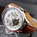 43 мм parnis белое окно с датой набора запаса мощности ST автоматические мужские часы 413