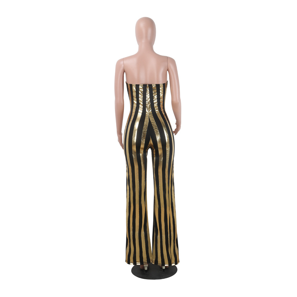 IMYSEN 2017 Summer Autumn Sexy Jumpsuit Women Romper Deep V Chest Wrapped Black Gold Stripe Nightclub Outfit Backless Rompers