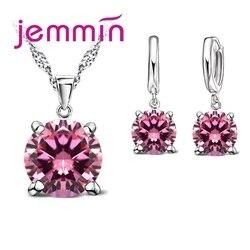 2019 mode 8 Farbe Kristall Halskette Geschenk 925 Sterling Silber Anhänger Ohrring Set Frauen Mädchen Partei Schmuck