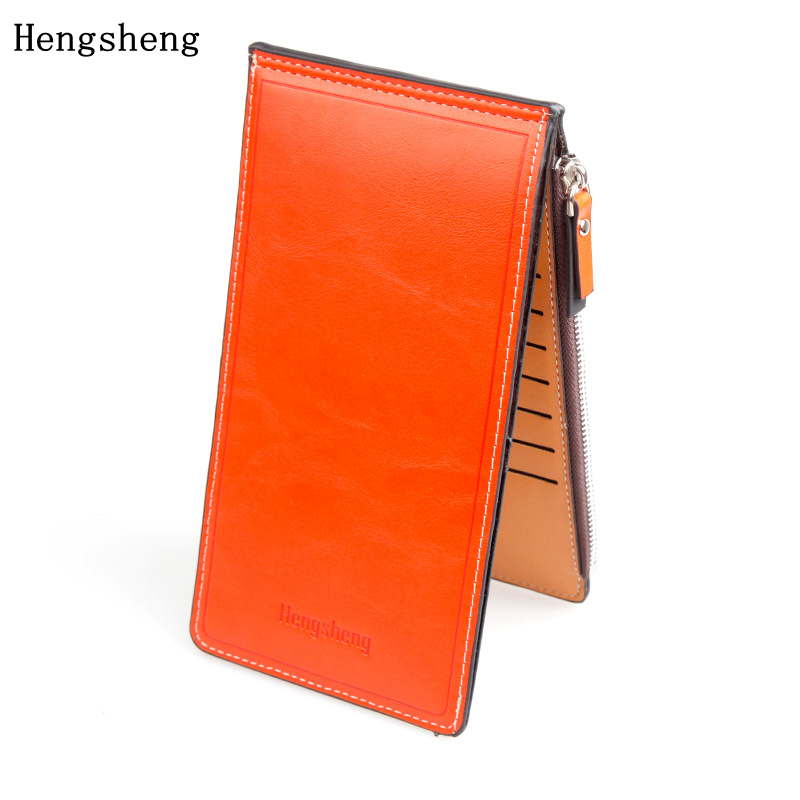 Hengsheng Oil Wax Pickup Female Women Wallets Ultra Thin PU Leather Wallet Long Section Purse Women Card Package Photo Holder dollar price new european and american ultra thin leather purse large zip clutch oil wax leather wallet portefeuille femme cuir