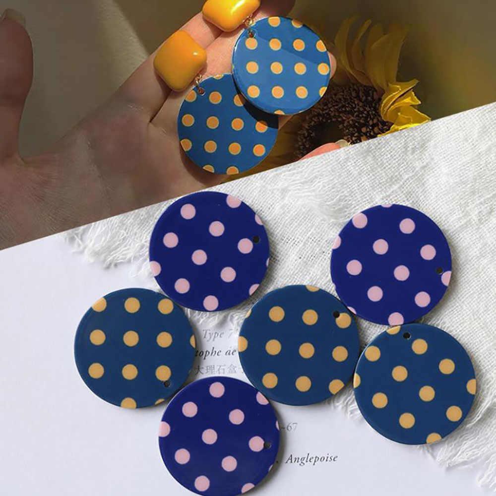 DIY مجوهرات أقراط اكسسوارات الفرنسية خمر جولة البولكا نقطة الراتنج دليل الاكريليك ثقب واحد قلادة المواد للبنات 1 قطعة
