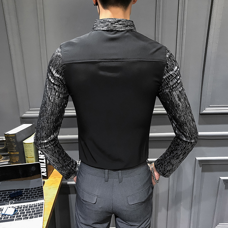 Image 4 - 2020 Spring New shirt dress brand all match men shirt long sleeve patchwork design solid mens shirts casual slim fit prom tuxedoTuxedo Shirts   -