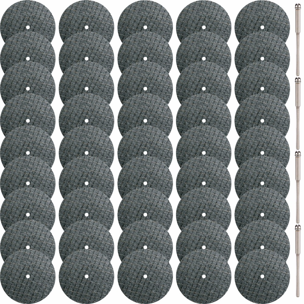 SPTA 120Pcs/set Fiberglass Reinforced Cut Off Wheel Disc + 4Pcs 1/8 Inch (3mm) Mandrels For Proxxon Dremel Rotary Tools