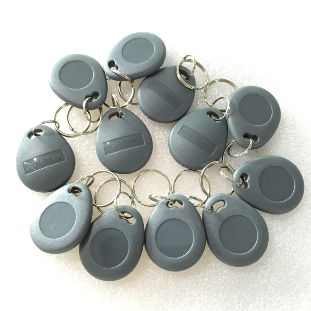 цена на 10 PCS/LOT 125Khz RFID Tag Proximity Grey ID Token Tag Key Fob ABS Water Resist TK4100 Chip for Access Control Time Attendance