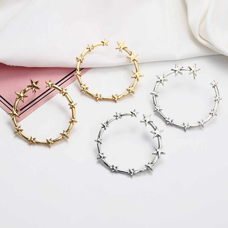 Punk Style Golden Color Star Round Hoop Earrings Women's Personalized Statement Earrings Fashion Jewelry E0193
