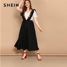 2cb74fdd58 SHEIN Plus tamaño negro cintura alta llamarada falda con bordados de correa  de las mujeres elegante Oficina elástico faldas