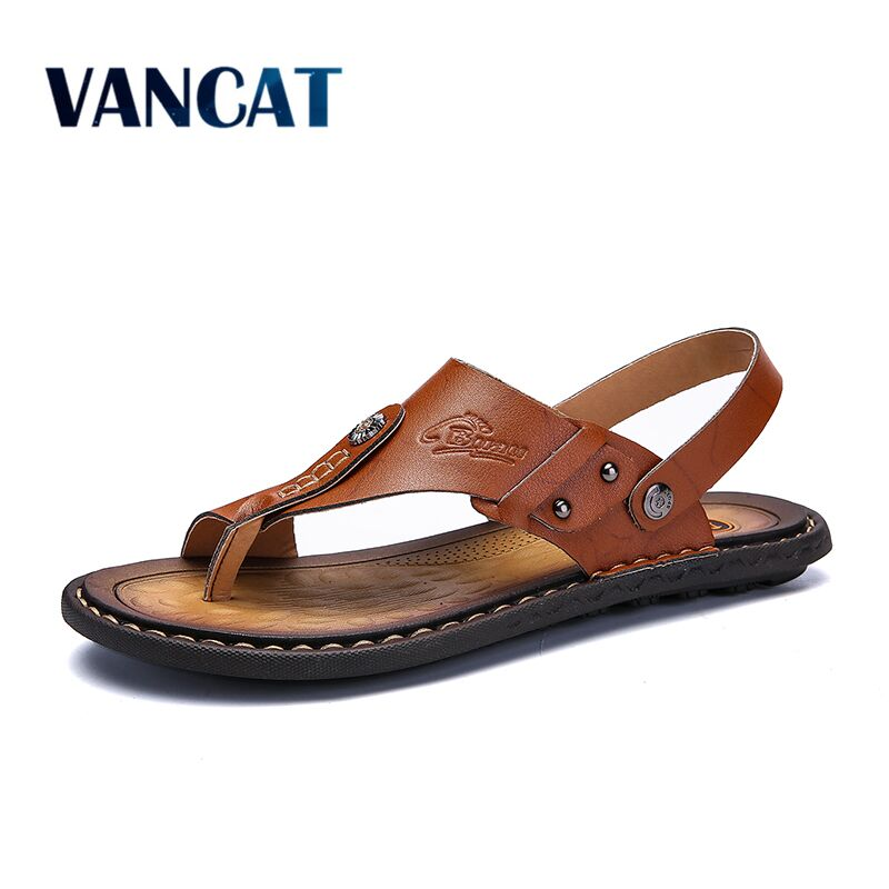 Mens Flip Flops Plus Size 47 Brand Summer Genuine Leather Sandals Men Casual Shoes Outdoor Beach Sandals Comfortable slippers(China)