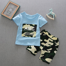 DIIMUU Toddler Baby Boy Clothes Summer Outfits Casual Cotton Children Boys Clothing Appliques Camouflage T-Shirt Short Pants Set цена