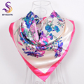 BYSIFA Winter Bright Pink Satin Scarves Wraps For Ladies 90*90CM Fashion Accessories Women Floral Patterns Silk Scarf Imitated