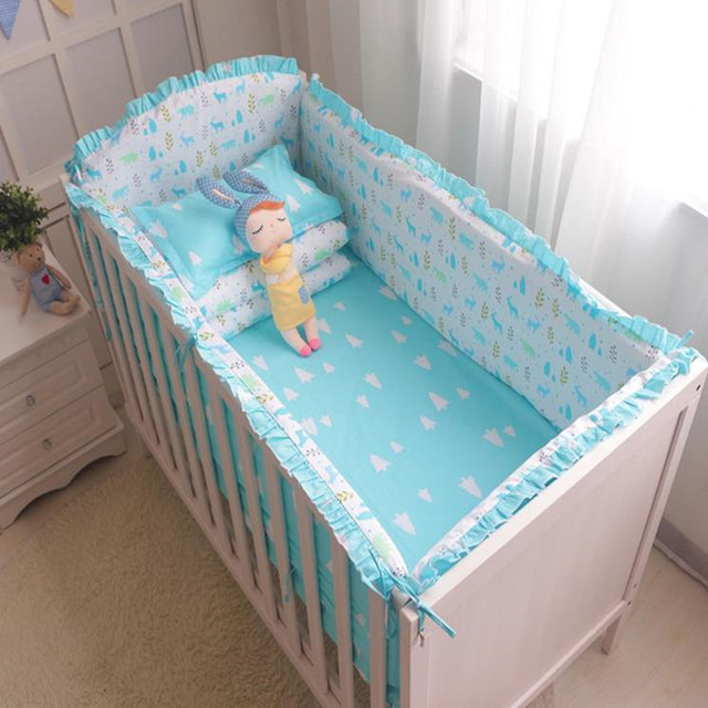 6Pcs/Sets Cotton Baby Bed Bumpers Sets With zipper Printing Patterns Baby Bumper Bed Around Anti-collision Comfort Baby Bedding