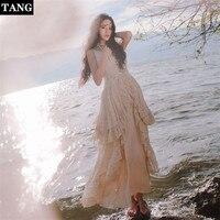 Tang дизайнерские платья для подиума 2019 двухсекционное летнее платье миди на бретельках с кружевом элегантная женская одежда