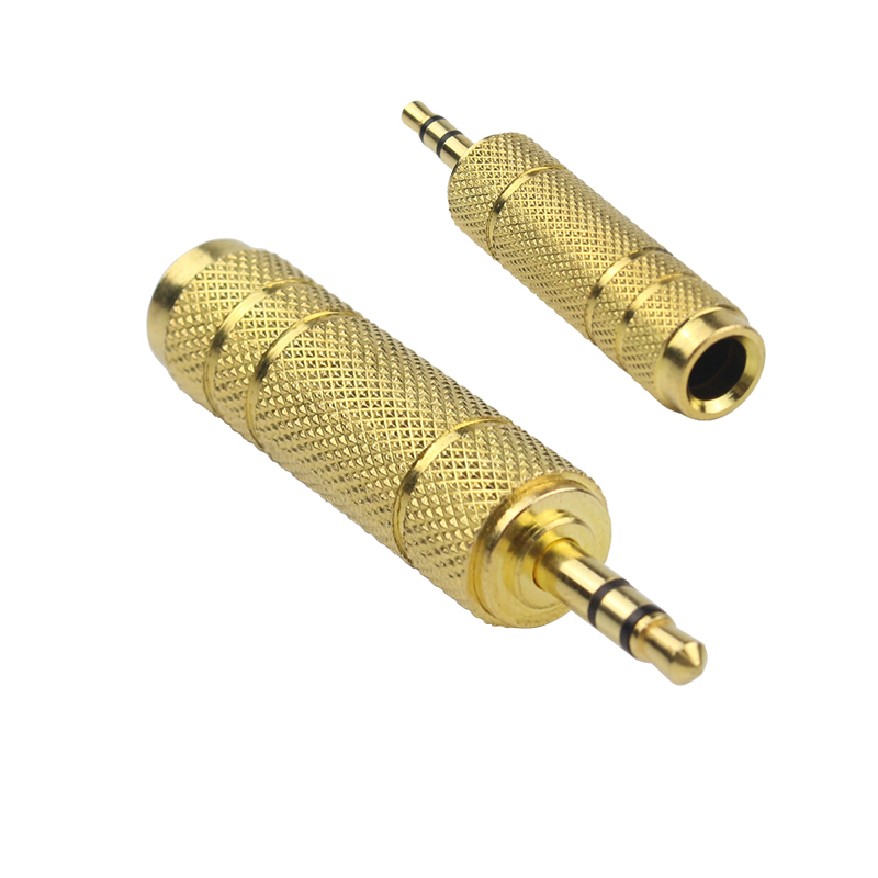 10pcs/lot Gold 3.5mm Male to Female 6.5mm 1/4 Stereo Headphone Adapter Jack Plug Microphone Audio Adapter Converter 1pc microphone 6 35 mm female to 3 5 mm male stereo audio connector adapter plug