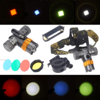 Militery Tactical Headlight Headlamp Green Blue Red LED Head Torch Lamp Light AAA For Camping Fishing