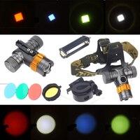 Cree T6 Phare de Phare Vert Bleu Rouge LED Tête Torche Lanterne Lampe Lumière AAA Batterie pour la Randonnée Camping Pêche Chasse