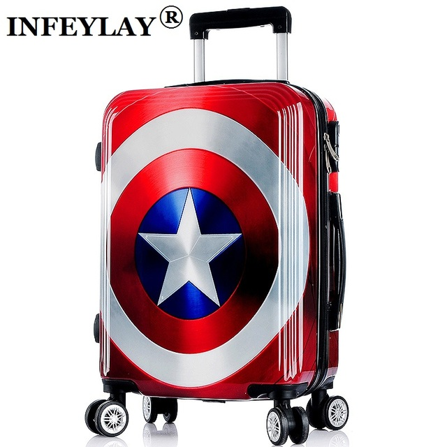 20/24/26 inch High quality cool Captain America trolley case ABS+PC Travel luggage rolling suitcase men business Boarding box