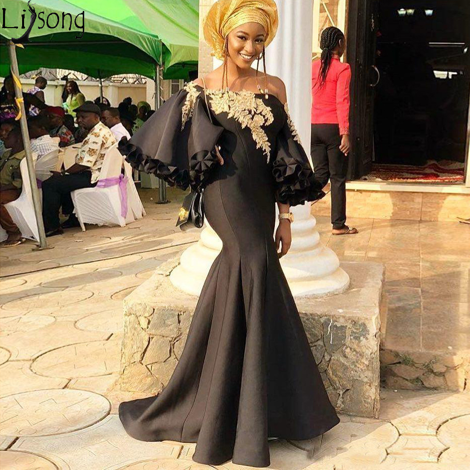 Aso Ebi 2019 Black Evening   Dress   Mermaid Lace Beaded   Prom     Dresses   Satin Abiye Cheap Formal Party Pageant Gowns Robe de soiree
